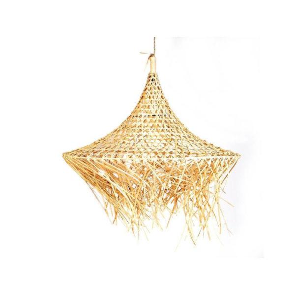 Φωτιστικό Οροφής Μονόφωτο Κωνικό Ρατάν Πλεκτό Με Κρόσια Natural Δ70 Υ75