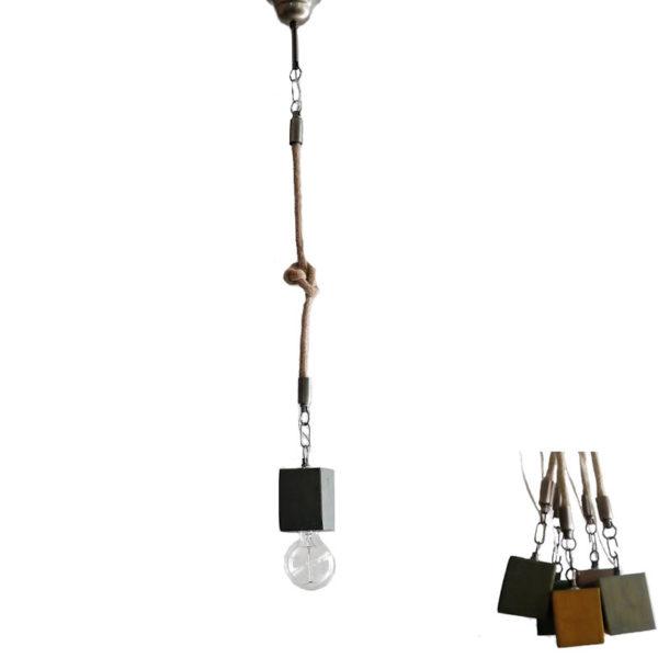 Φωτιστικό Οροφής Μονόφωτο 'Κύβος' Ξύλινο/ Μεταλλικό Με Τριχιά Χακί Υ80
