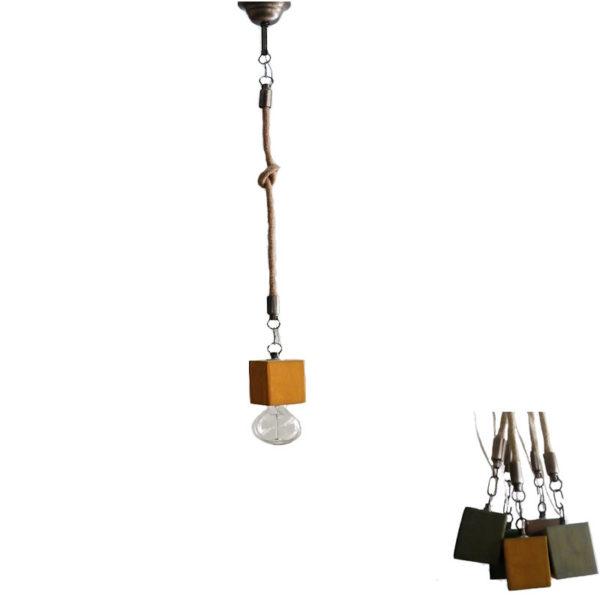 Φωτιστικό Οροφής Μονόφωτο 'Κύβος' Ξύλινο/ Μεταλλικό Με Τριχιά Ώχρα Υ80