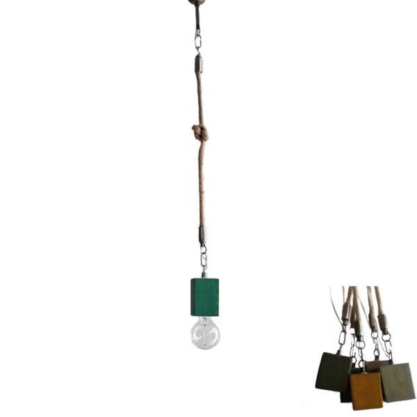Φωτιστικό Οροφής Μονόφωτο 'Κύβος' Ξύλινο/ Μεταλλικό Με Τριχιά Πράσινο Υ80