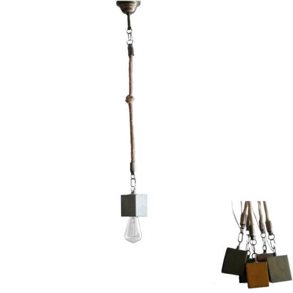 Φωτιστικό Οροφής Μονόφωτο 'Κύβος' Ξύλινο/ Μεταλλικό Με Τριχιά Σιέλ Υ80