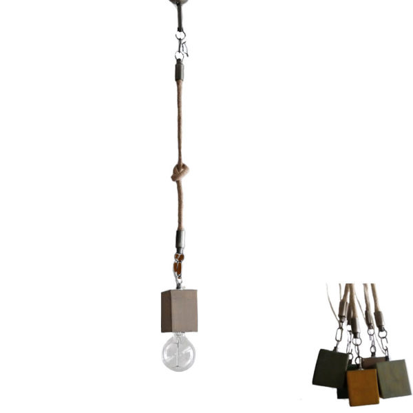 Φωτιστικό Οροφής Μονόφωτο 'Κύβος' Ξύλινο/ Μεταλλικό Με Τριχιά Ξυσμένο Υ80