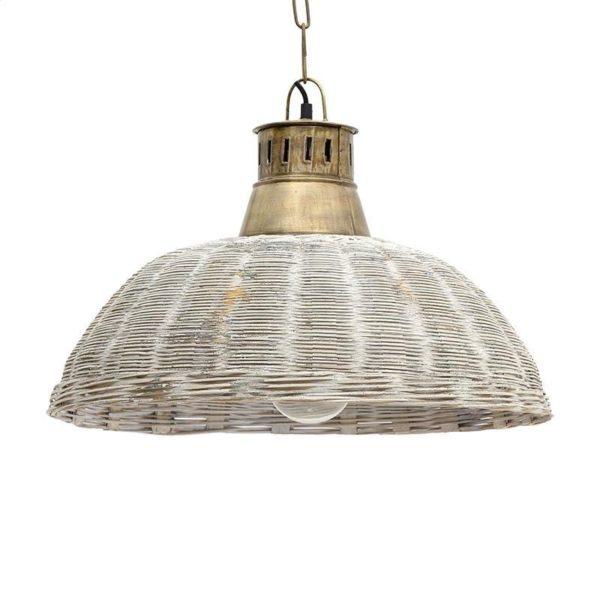 Φωτιστικό Οροφής Μονόφωτο Λυγαριά Αντικέ Λευκό Με Μεταλλικό Ντουί Δ49 Υ33
