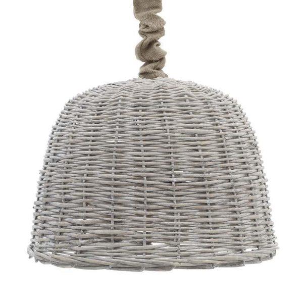 Φωτιστικό Οροφής Μονόφωτο Λυγαριά Με Λινάτσα Φ54 Υ36