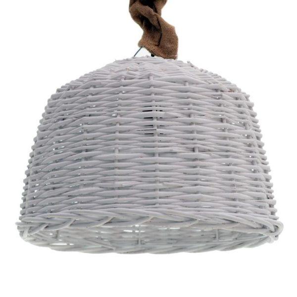 Φωτιστικό Οροφής Μονόφωτο Λυγαριά Με Λινάτσα Λευκό Φ38 Υ28
