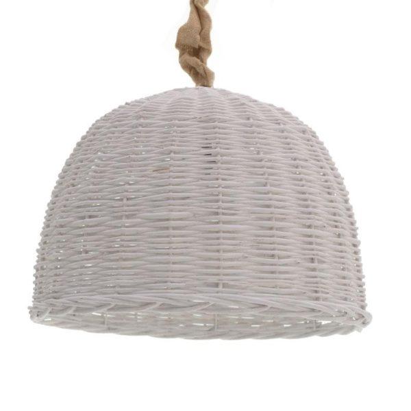 Φωτιστικό Οροφής Μονόφωτο Λυγαριά Με Λινάτσα Λευκό Φ54 Υ36