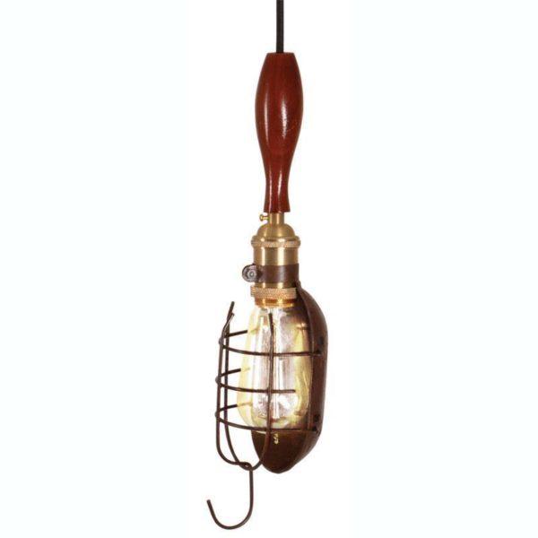 Φωτιστικό Οροφής Μονόφωτο Με Άγκιστρο Μεταλλικό/ Ξύλινο