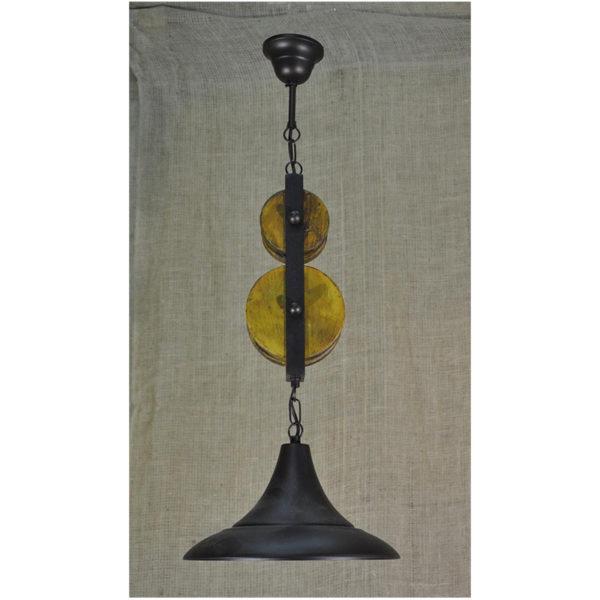 Φωτιστικό Οροφής Μονόφωτο Με Ξύλινες Τροχαλίες Και Μεταλλικό Καπέλο