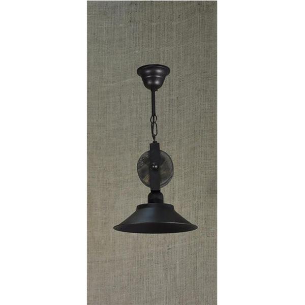 Φωτιστικό Οροφής Μονόφωτο Με Ξύλινες Τροχαλίες Και Μεταλλικό Καπέλο Φ22x45