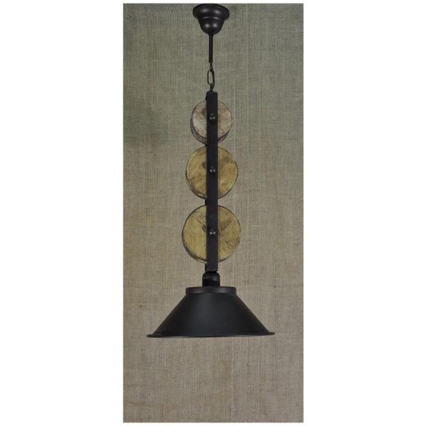 Φωτιστικό Οροφής Μονόφωτο Με Ξύλινες Τροχαλίες Και Μεταλλικό Καπέλο Φ30x80
