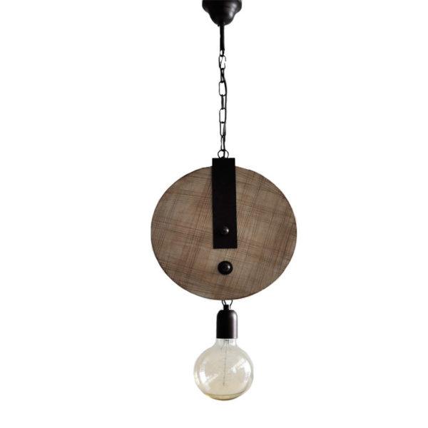Φωτιστικό Οροφής Μονόφωτο Μεγάλη 'Τροχαλία' Ξύλο/ Μέταλλο Δ28 Υ80