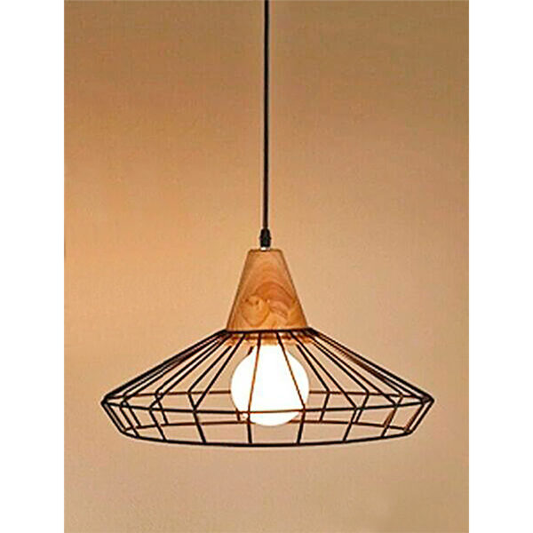 """Φωτιστικό Οροφής Μονόφωτο Μεταλλικό """"Cage"""" Με Ξύλινη Βάση Φ40 Υ25"""