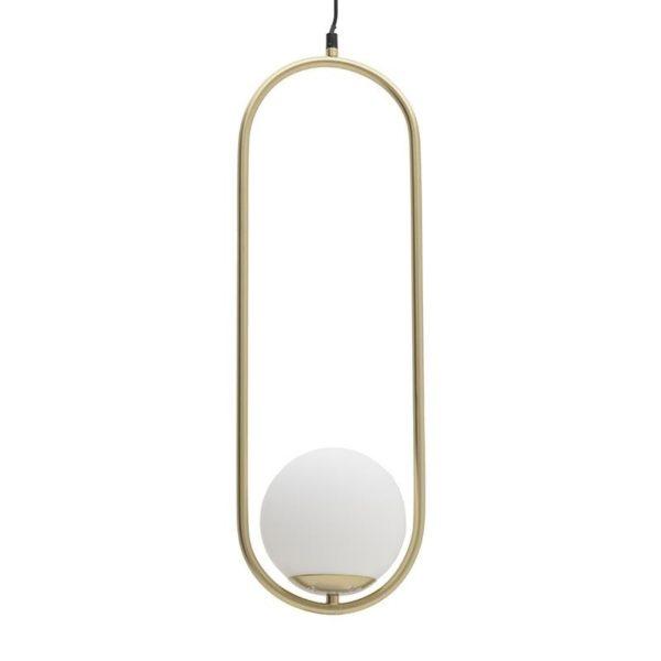 Φωτιστικό Οροφής Μονόφωτο Μεταλλικό Λευκό/ Χρυσό 24x20x60/150