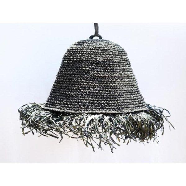 Φωτιστικό Οροφής Μονόφωτο Πλεκτό Σχοινί Φυσικό Με Κρόσια Μαύρο Δ45 Υ60