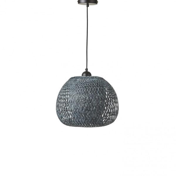Φωτιστικό Οροφής Μονόφωτο Στρογγυλό Ρατάν Πλεκτό Γκρι Δ33 Υ29