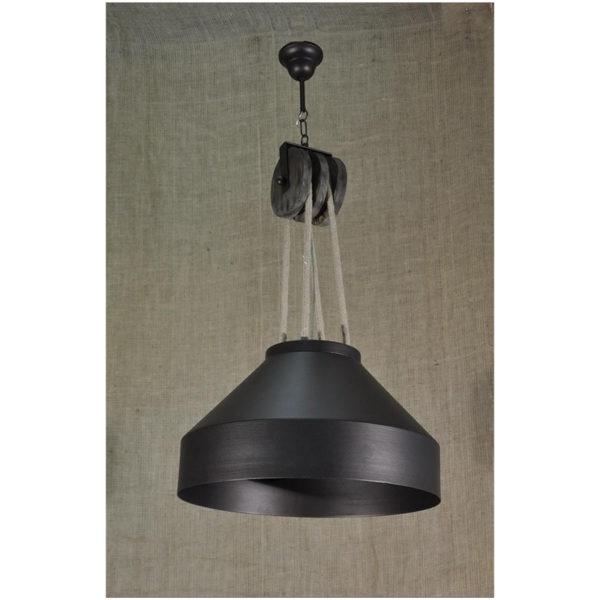 Φωτιστικό Οροφής Μονόφωτο Τροχαλία,  Σχοινί - Ξύλο - Μεταλλική Καμπάνα Μεγάλη