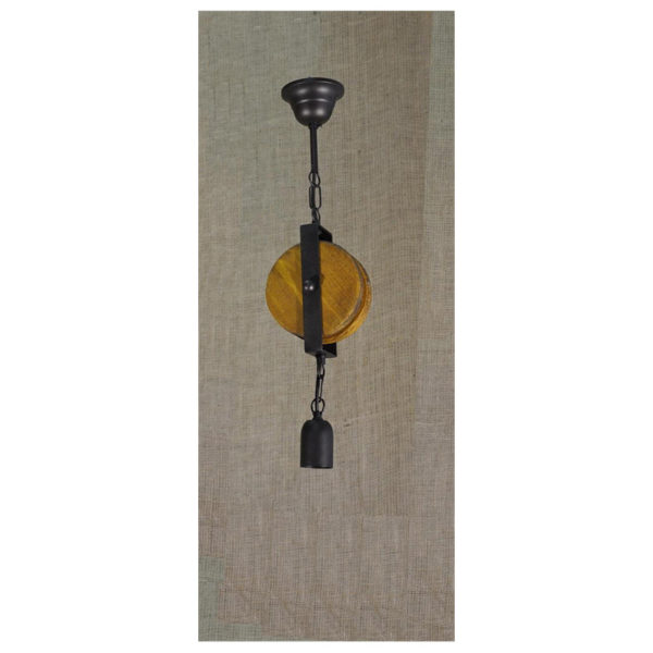 Φωτιστικό Οροφής Μονόφωτο, Ξύλινη Τροχαλία, Μεταλλικά Στοιχεία