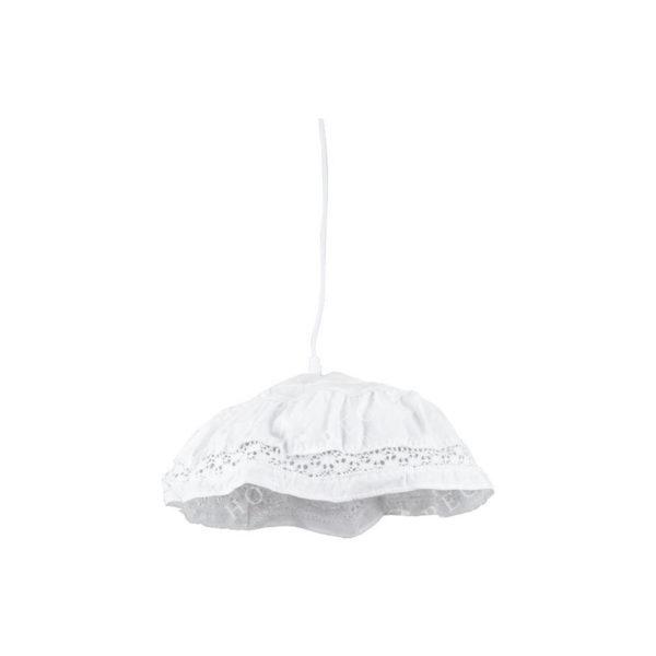 Φωτιστικό Οροφής Μονόφωτο Υφασμάτινο Λευκό Με Δαντέλα Υ18