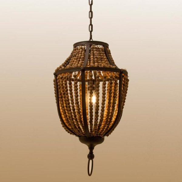 Φωτιστικό Οροφής Πολυέλαιος Ρουστίκ Με Ξύλινες Χάντρες Στρόγγυλο 44x43x77 | Zaros