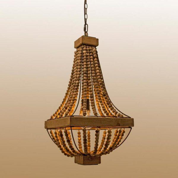 Φωτιστικό Οροφής Πολυέλαιος Ρουστίκ Με Ξύλινες Χάντρες Τετράγωνο 38x38x77   Zaros