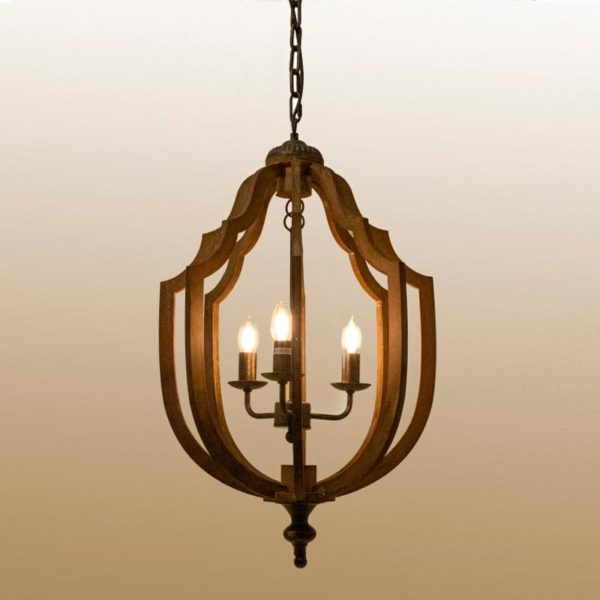 Φωτιστικό Οροφής Ρουστίκ Ξύλινο 3φωτο 43x46x77cm | Zaros