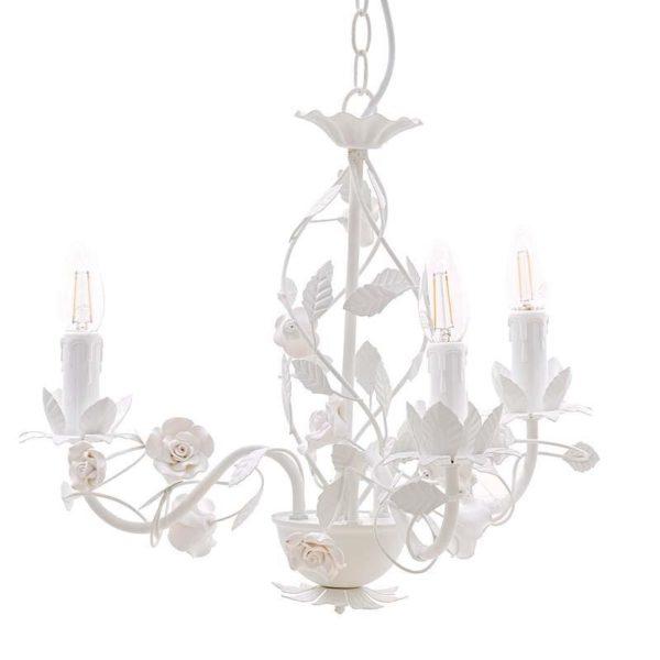 Φωτιστικό Οροφής Τρίφωτο Μεταλλικό Λευκό Με Φύλλα Και Τριαντάφυλλα 42x42x37/110 Inart