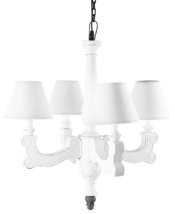 Φωτιστικό Οροφής Ξύλινο Τετράφωτο Λευκό Με Καπέλα
