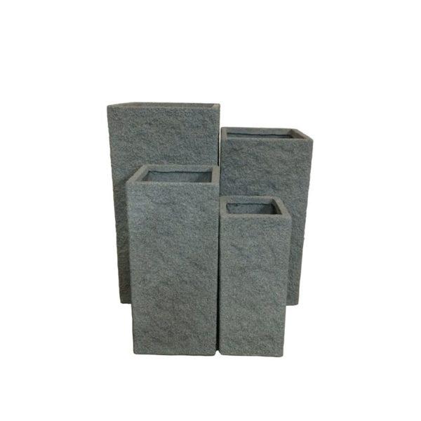 Γλάστρα Τετράγωνη Ψηλή Γκρι Rock M
