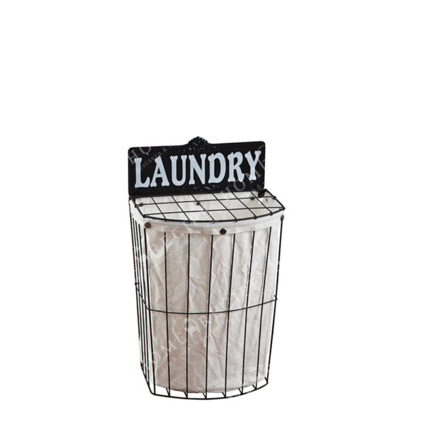 """Καλάθι Άπλυτων Μαύρο Μεταλλικό Με Υφασμάτινη Αποσπώμενη Επένδυση """"Laundry''"""