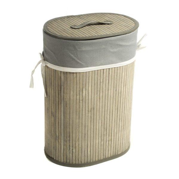 Καλάθι Απλύτων Οβάλ Bamboo/ Ύφασμα Με Καπάκι Natural Beige/ Γκρι Υ50