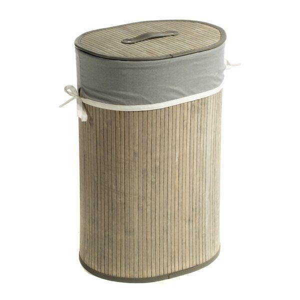 Καλάθι Απλύτων Οβάλ Bamboo/ Ύφασμα Με Καπάκι Natural Beige/ Γκρι Υ60