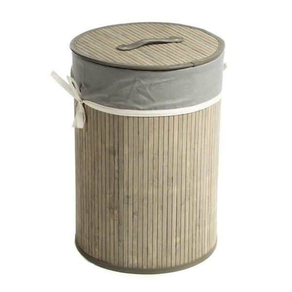 Καλάθι Απλύτων Στρόγγυλο Bamboo/ Ύφασμα Με Καπάκι Natural Beige/ Γκρι Υ50