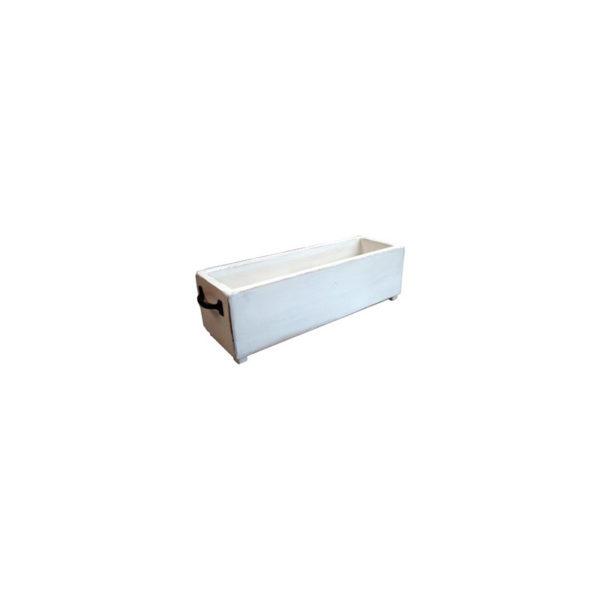 Καλάθι/ Κουτί Ξύλινο Μακρόστενο Centerpiece Με Μεταλλικά Χερούλια 45x13, White Chocolate