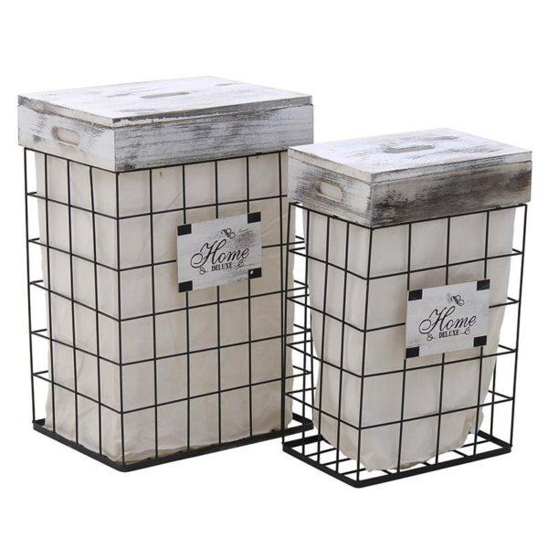 Καλάθια Απλύτων Μέταλλο/ Ξύλο Με Ύφασμα 'Home' Λευκό, Σετ Των 2, Inart