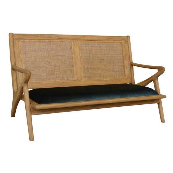 Καναπές Διθέσιος Ξύλινος Natural Beige Με Βελούδινο Κυπαρισσί Κάθισμα Μ130