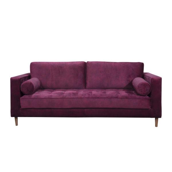 Καναπές Τριθέσιος Βελούδινος 'Plum' Με Καπιτονέ Κάθισμα Μ202