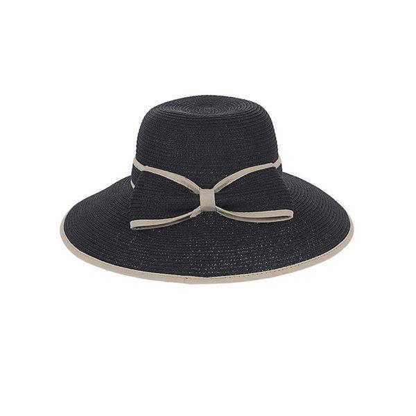 Καπέλο Ψάθινο Μαύρο Με Μπεζ Φιόγκο
