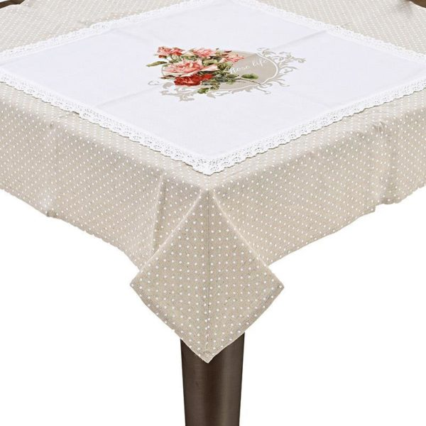 Καρέ Μπεζ Λευκό Πουά Υφασμάτινο Με Τριαντάφυλλα
