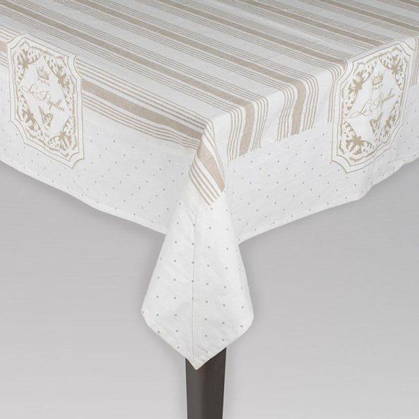 Kαρέ Υφασμάτινο Λευκό Με Μπεζ Πουά Και Ρίγες 120x120
