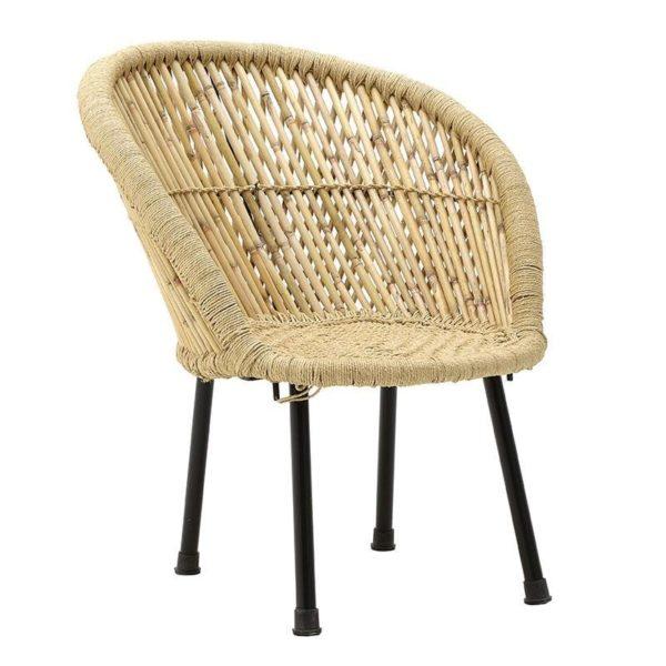 Καρέκλα Μπαμπού Natural Με Μαύρα Πόδια 63x61x74/36