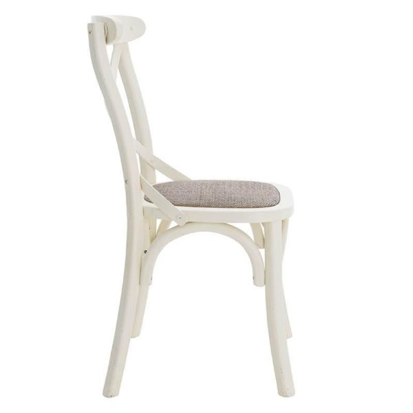 Καρέκλα Μπιστρό Ξύλινη (Φτελιά) Αντικέ Λευκό