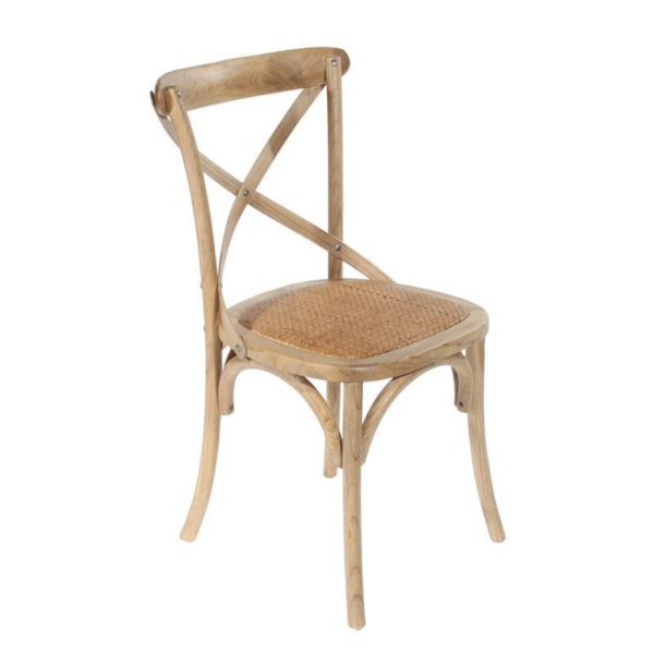 Καρέκλα Μπιστρό Ξύλινη (Φτελιά) Natural Και Ψάθα