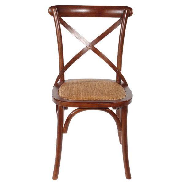 Καρέκλα Μπιστρό Ξύλινη Καφέ Με Ψάθα