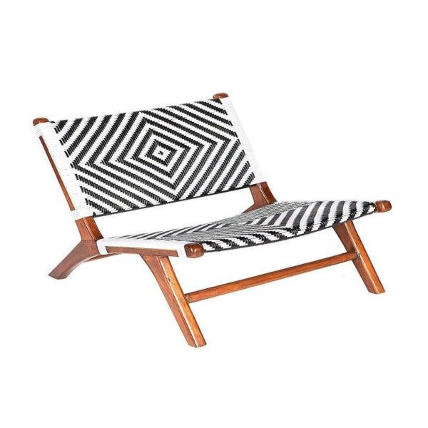 Καρέκλα Chaise Longue Ξύλινη Με Rattan Πλεξη Ασπρόμαυρα Γεωμετρικά Μοτίβα