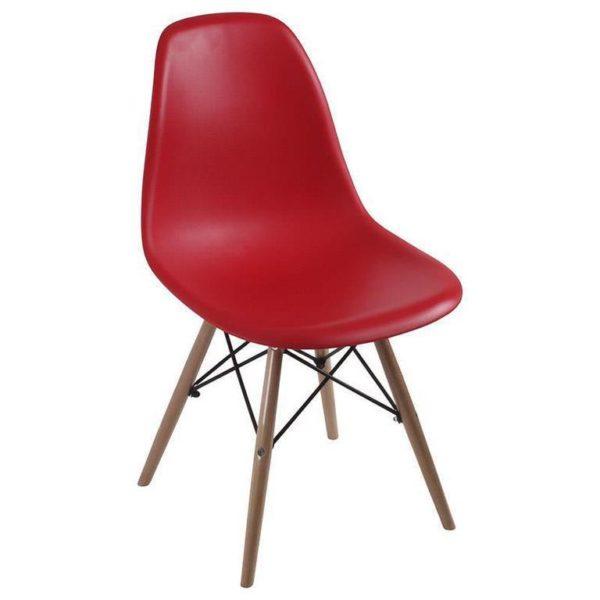 Καρέκλα Κόκκινη Πλαστική Με Ξύλινα Πόδια