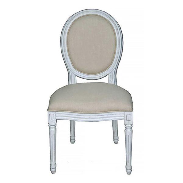 Καρέκλα Louis Warm Grey Με Υφασμάτινο Κάθισμα
