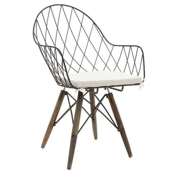 Καρέκλα Μεταλλική/ Ξύλινη Rusty Με Μαξιλάρι Και Μπράτσα