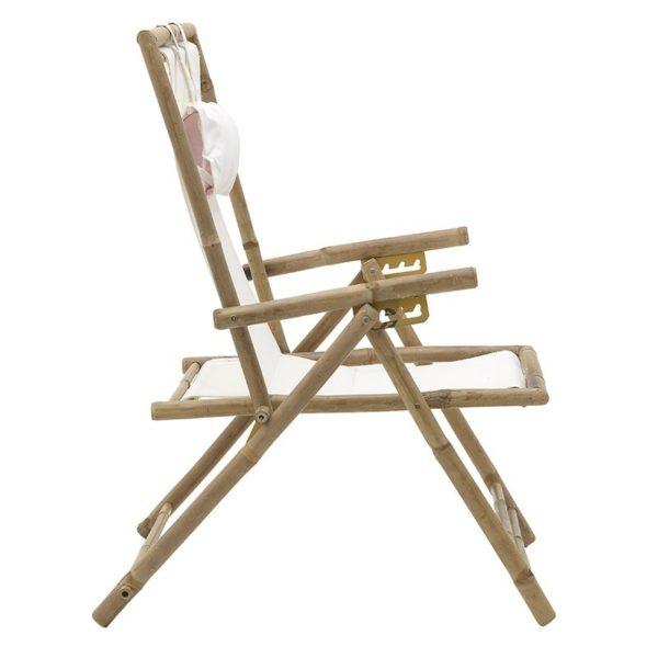 Καρέκλα Παραλίας Πτυσσόμενη Bamboo Με Λευκό Ύφασμα 107x57x82