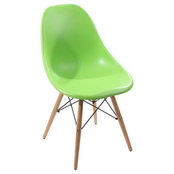 Καρέκλα Πράσινη Πλαστική Με Ξύλινα Πόδια