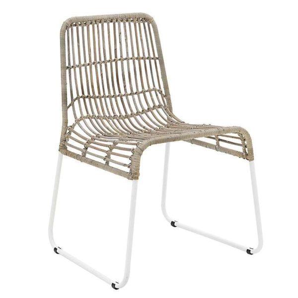 Καρέκλα Ρατάν Καφέ - Γκρι Με Μεταλλικά Πόδια
